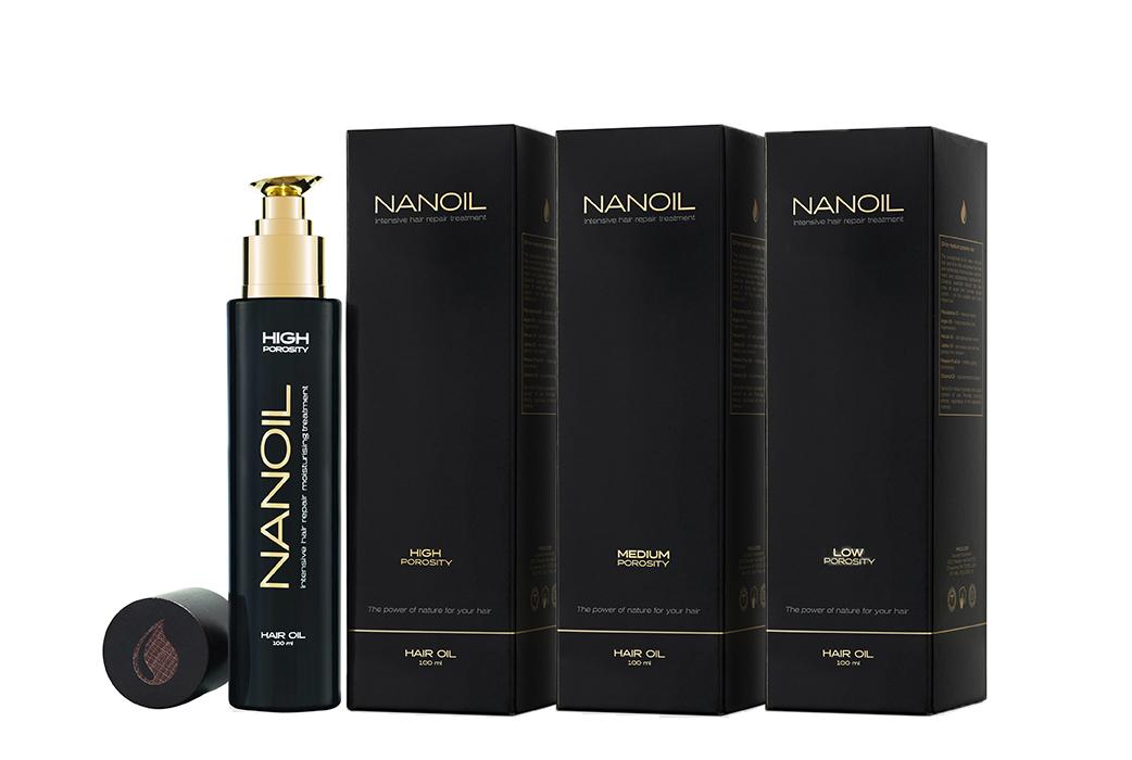 Beaux cheveux avec de l'huile capillaire Nanoil